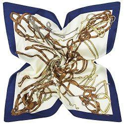K-ELeven Silk Scarf Women's Square Satin Hair Scarf 23.6 x 23.6 inches SK072-A