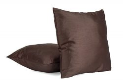 Set of 2 – Solid Color 18″ X 18″ Square Faux Silk Decorative Throw Pillows, Pi ...