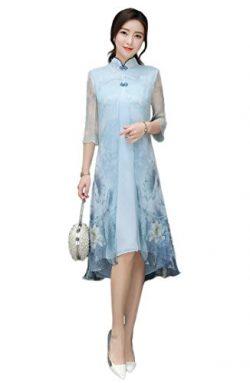 Fasbys Summer Style Swing Dress Oriental Cheongsam Chinese Modified Qipao (3XL)