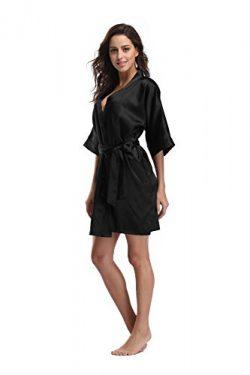 Luvrobes Women's Satin Kimono Robe, Solid Color, Short (M, Black)