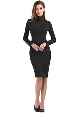 DONWORD Turtleneck Bodycon Long Dress Slim Midi Dress For Women With Long Sleeves Club Party Pen ...