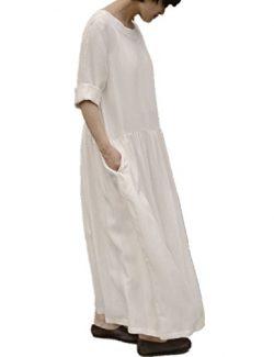 Yesno T25 Women 50″ Long Maxi Loose Dress 100% Silk Large Swing Skirt Long Sleeve Cool for ...