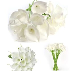 20 Pcs Artificial Calla Lily Silk Flowes Muyee Real Touch Fake Flowers Wedding Bouquets (White)