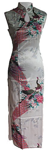 7Fairy Women's Silk White Keyhole Peacock Long Chinese Dress Qipao Size 2 US