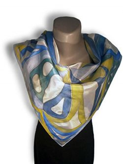 GEO Blues Hand Painted Silk Scarf