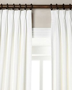 100% Linen pinch pleated lined window curtain panel Drape (White, 27″W X 96″L)
