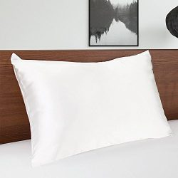 MOMMESILK Satin Pillowcase for Hair Beauty Faux Silk Pillowcase White with Hidden Zipper Sandard 1pc