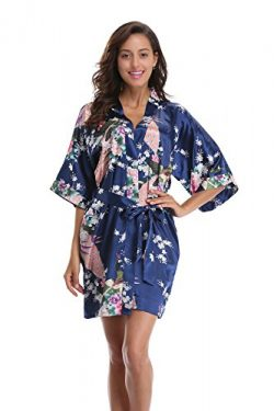 Luvrobes Women's Kimono Robe With Pockets, Peacock Design, Short (L, Navy)