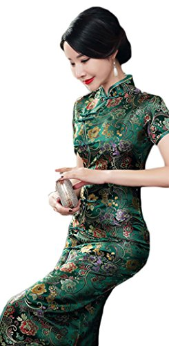 AvaCostume Women's Chinese Silk Floral Qipao Button Long Cocktail Dress Size US 10 Green