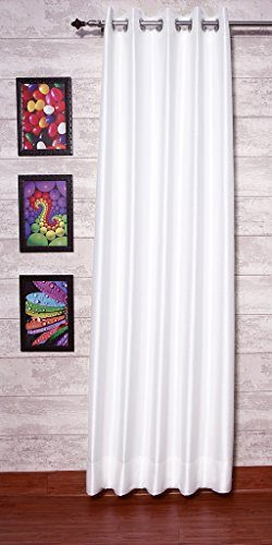 White Dupioni Faux Silk Drapes 51″ (130cm) Wide x 120″ (10ft) Long, Eyelet Top With  ...