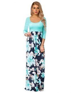 GloryStar Women's Floral Print Long Sleeve Loose Plain Maxi Dresses Casual Long Dresses Wi ...