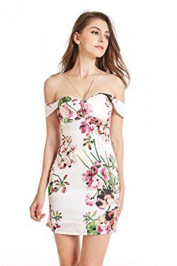 Ariestar Women's Off Shoulder Floral Party Casual Silk Dress (Built-In Bra)-S