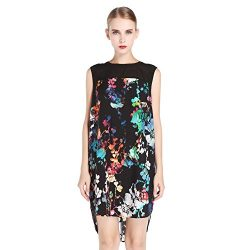 NCF Women's 100% Natural Silk Gorgeous Floral Printed Midi Dress, Multi, M