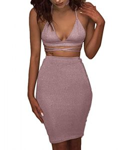Doramode Women's Sparkling Lace-up Fitting Strechy Cut Out Midi Two Piece Set Special Occa ...
