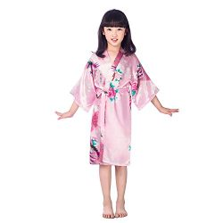 Kids Children Girls Kimono Satin Silk Soft Peacock Bathrobe Robes Gown Bridal Lingerie Sleepwear