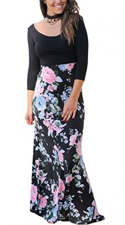 CoCo fashion Women's Casual 3/4 Sleeves Contrast Floral Printed Patchwork Maxi Dress (Larg ...