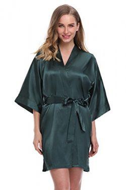 expressbuynow Women's Satin Kimono Robe Short Bridal Robe, Solid Color, Army Green, M