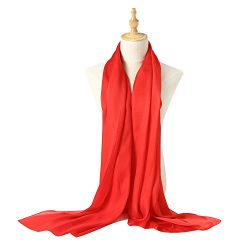 Bellonesc Silk Scarf 100% silk Long Lightweight Sunscreen Shawls for Women (red)