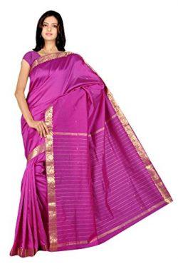 IndianAttire Indian Women's Traditional Art Silk Saree Sari Drape Top Veil Fabric Purple