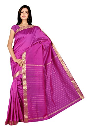 IndianAttire Indian Women's Traditional Art Silk Saree Sari Drape Top Veil Fabric Purple
