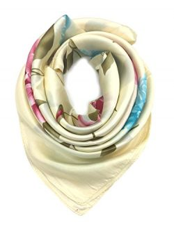 YOUR SMILE Silk Like Scarf Women's Fashion Pattern Large Square Satin Headscarf Headdress (1)