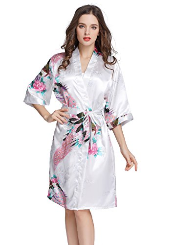 J.ROBE Women's Printing Lotus Kimono Robe Short Sleeve Silk Bridal Robe White S