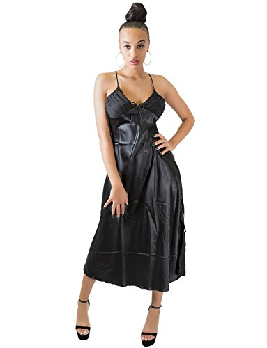 VWIWV Sexy Sleepwear Adjustable Spaghetti Straps Satin Pajamas Sleeveless  Long Nightgown 64f83962a