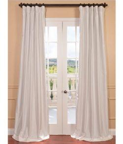 Half Price Drapes PTCH-BO120-96 Blackout Faux Silk Taffeta Curtain, Eggshell
