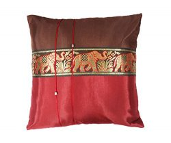 One Pair Big Elephant Stripe Throw Cushion Cover/Pillow Case Thai Silk for Decorative Sofa, Car  ...