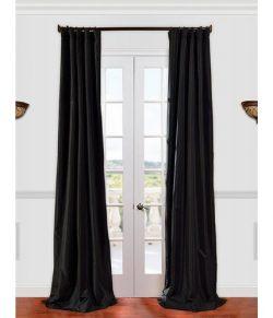 Half Price Drapes PTCH-JTSP41-120 Faux Silk Taffeta Curtain, Jet Black