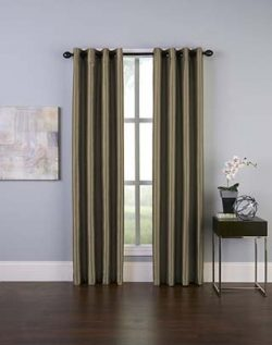 Curtainworks Malta Faux Silk Grommet Curtain Panel, 50 by 108″, Bronze