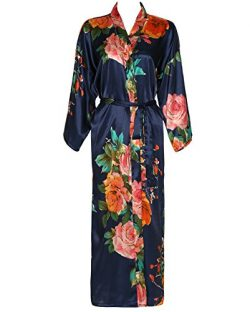 Zarachilable Women 's Long Kimono Robe Floral Bridesmaid Robe,Bridal Robe (One Size, Navy)