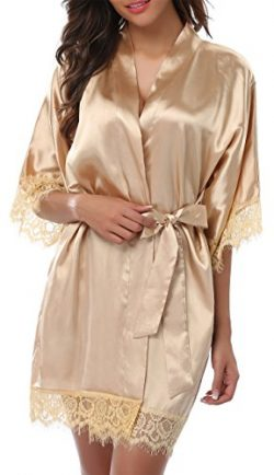 Giova Women's Lace Trim Kimono Robe Nightwear Nightgown Sleepwear Satin Short Robe, Gold,  ...