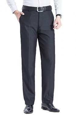 FLY HAWK Mens Wrinkle -Resistant Straight-Leg Classic Fit Dress Pants Black Trousers US Size 38& ...