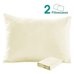 100% Cotton Sateen Toddler Pillowcases Set of 2, Soft and Cozy, 13″x 18″, Beige by NTBAY