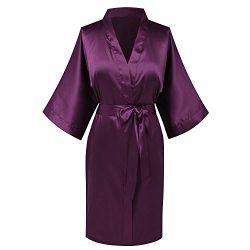 Goodmansam Women's Simplicity Stlye Bridesmaid Wedding Party Kimono Robes, Short,Eggplant  ...