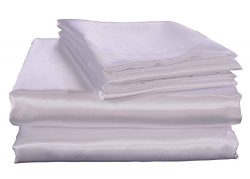 Honeymoon Luxury Satin Bed Sheet Set, Ultra Silky Soft, King – White