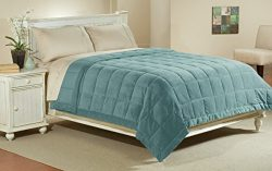 Luxlen Full / Queen Microfiber Blanket in Sky Blue | Reversible: Soft Plush to Satin Cool | Stai ...