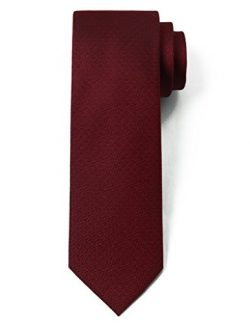 "Origin Ties 100% Silk Textured Solid Color Men's Skinny Tie 3"" Necktie Burgundy"