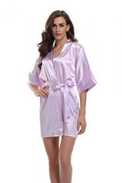 Sunnyhu Women's Pure Color Kimono Robe, Short (XL, Lavender)
