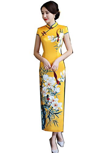 52007bbdcca Shanghai Story Faux Silk Long Chinese Cheongsam Dress Floral Qipao M Yellow