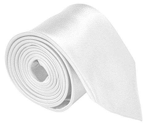 Moda Di Raza – Mens Necktie 3.5″ White Ties For Men- Satin Finish Silk Polyester Whi ...