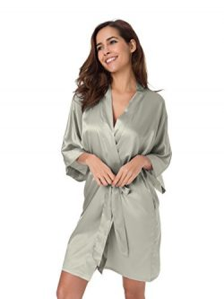 SIORO Women's Robe 2XL Silk Satin Robes Lightweight Kimono Robe Wedding Bath Robe Bridesma ...