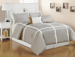 8 pc. Faux Silk, Light Metallic Taupe and White Striped Full Size Comforter Set