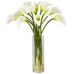 Nearly Natural 1187-CR Mini Calla Lily Silk Flower Arrangement, Cream