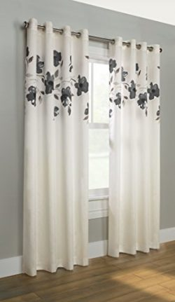 Common Wealth Home Fashions Eden Couture Floral Faux Silk Curtain, 52 X 84″, Charcoal
