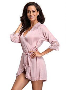 FanShou Women Short Silk Kimono Robe Lace Trim Satin Sleepwear Bridesmaids (Medium/Asia Tag X-La ...