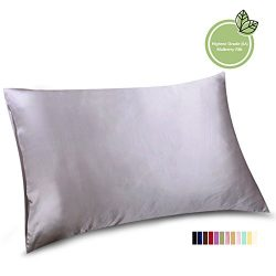 ELLESILK Natural Silk Pillowcase, Hypoallergenic, 22 momme, 600 thread count 100 percent Mulberr ...
