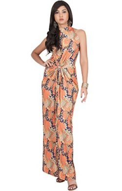 KOH KOH Plus Size Womens Long Sleeveless Sexy Summer Boho Bohemian Sundress Sun Sundresses Print ...
