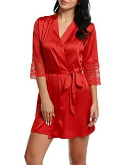 HOTOUCH Women's Sexy Faux Silk Lingerie Pajamas Sleepwear Robes Nightgown Lace Sleeves Red ...